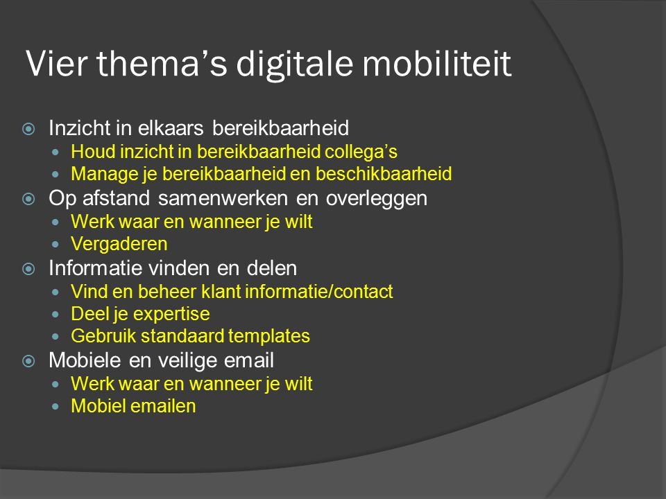 Vier thema's digitale mobiliteit
