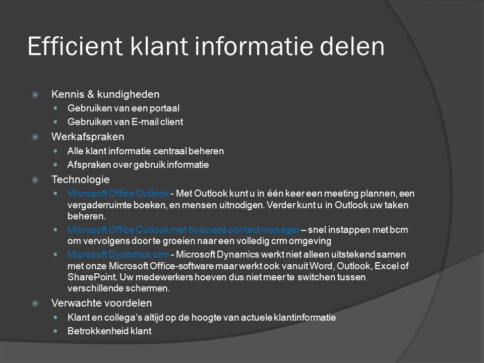 Efficient klant informatie delen