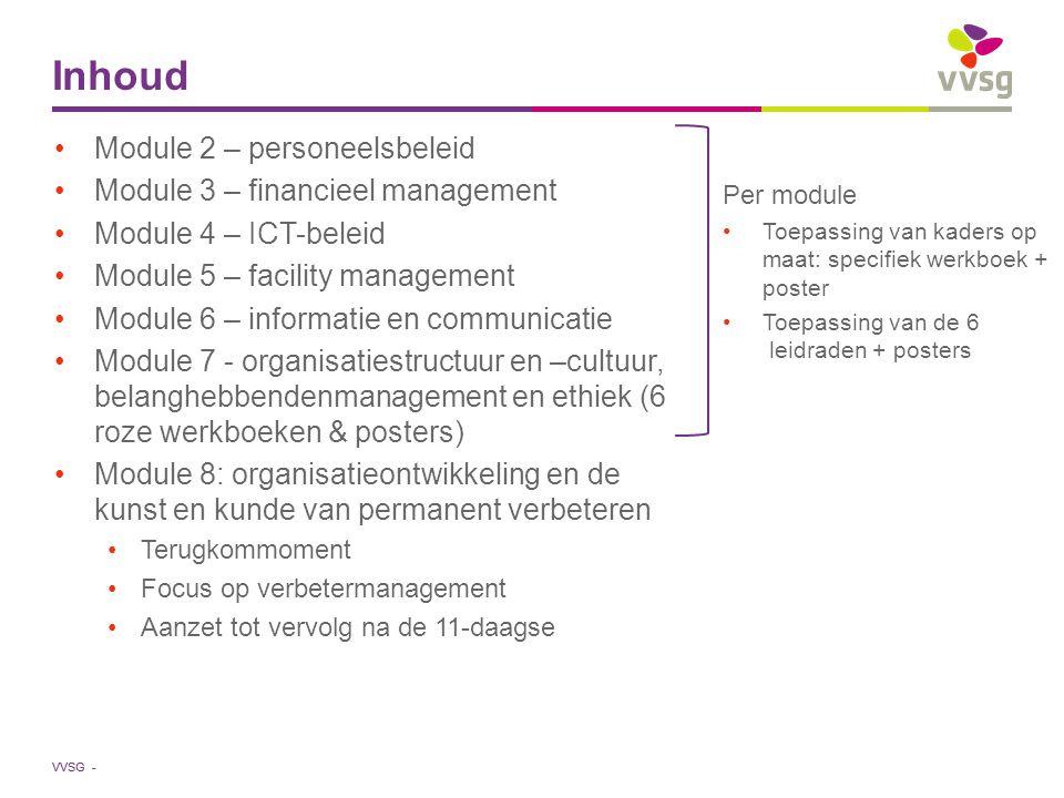 Inhoud Module 2 – personeelsbeleid Module 3 – financieel management