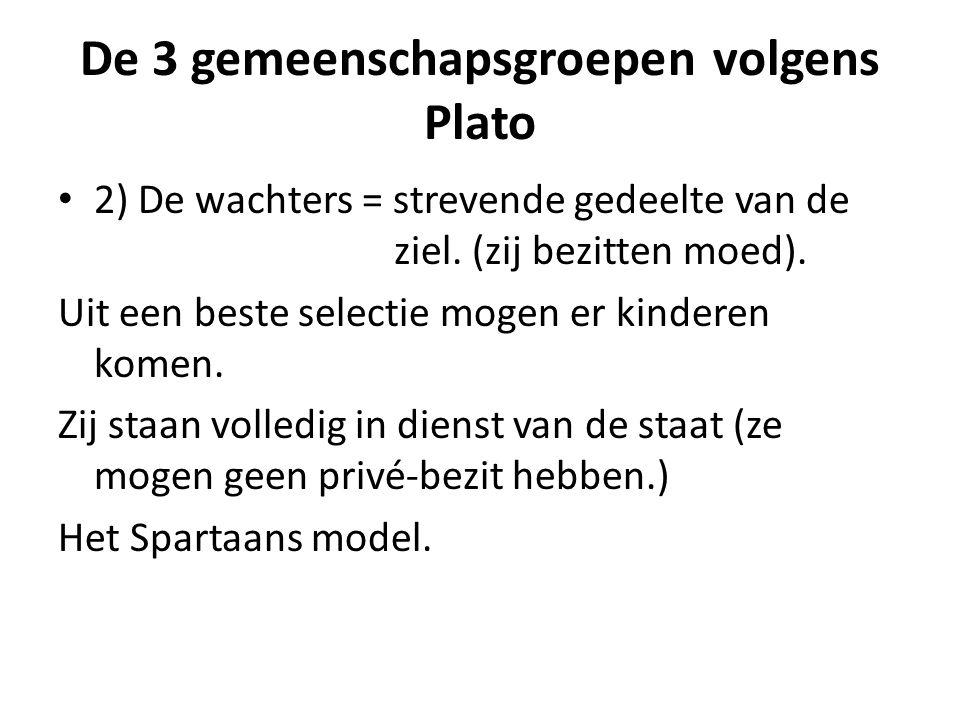De 3 gemeenschapsgroepen volgens Plato