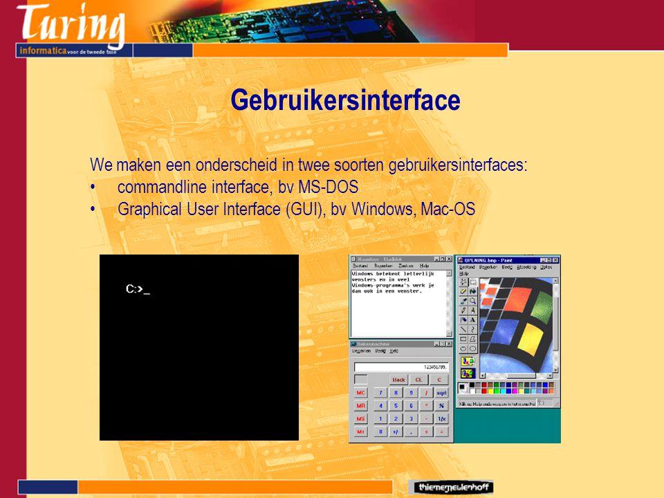 Gebruikersinterface We maken een onderscheid in twee soorten gebruikersinterfaces: commandline interface, bv MS-DOS.