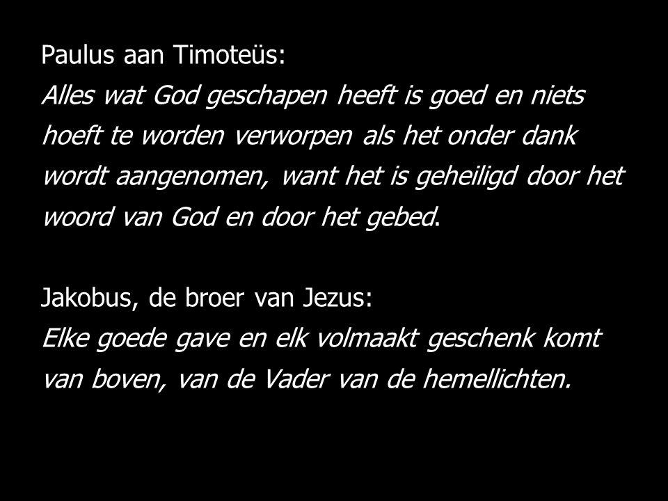 Paulus aan Timoteüs: Alles wat God geschapen heeft is goed en niets hoeft te worden verworpen als het onder dank wordt aangenomen, want het is geheiligd door het woord van God en door het gebed.