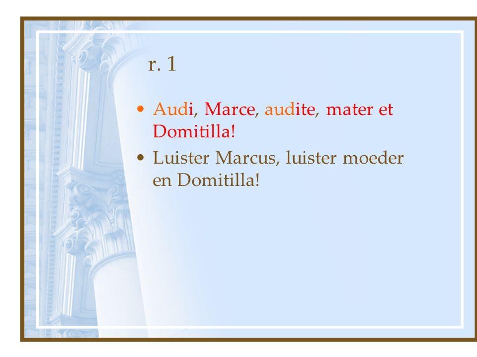 r. 1 Audi, Marce, audite, mater et Domitilla!