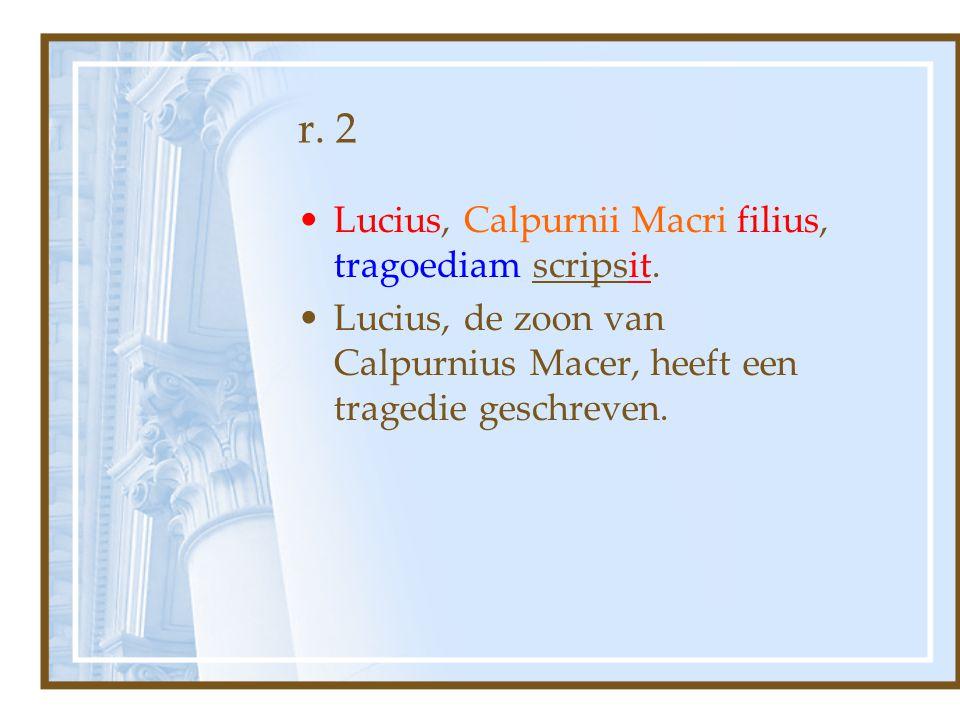 r. 2 Lucius, Calpurnii Macri filius, tragoediam scripsit.