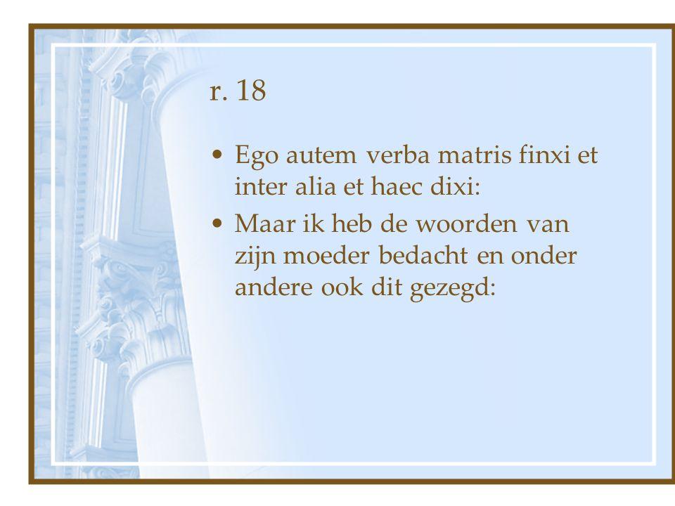 r. 18 Ego autem verba matris finxi et inter alia et haec dixi: