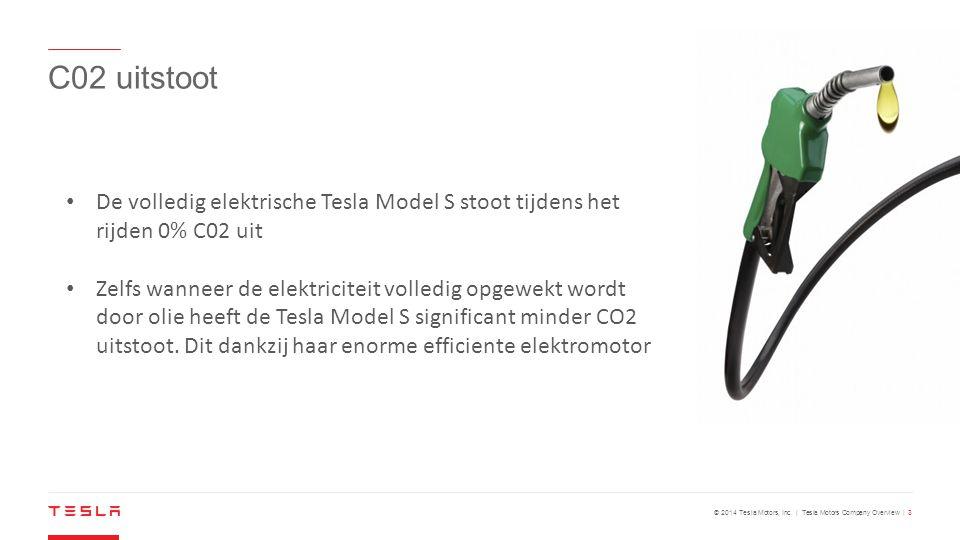 C02 uitstoot De volledig elektrische Tesla Model S stoot tijdens het rijden 0% C02 uit.