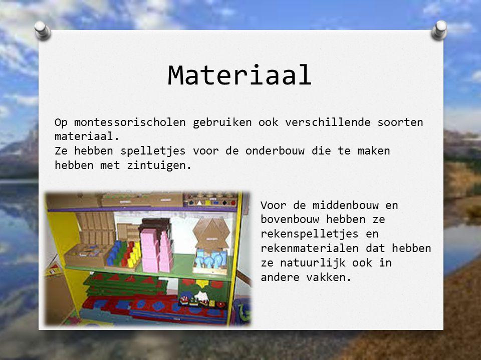 Materiaal Op montessorischolen gebruiken ook verschillende soorten materiaal.