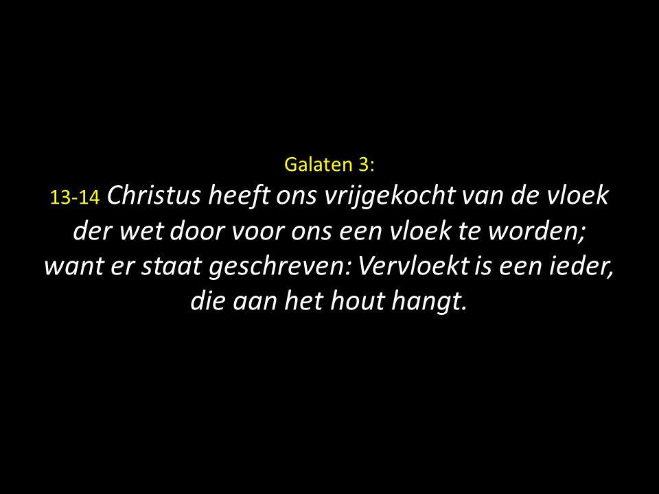 Galaten 3: 13-14 Christus heeft ons vrijgekocht van de vloek der wet door voor ons een vloek te worden; want er staat geschreven: Vervloekt is een ieder, die aan het hout hangt.