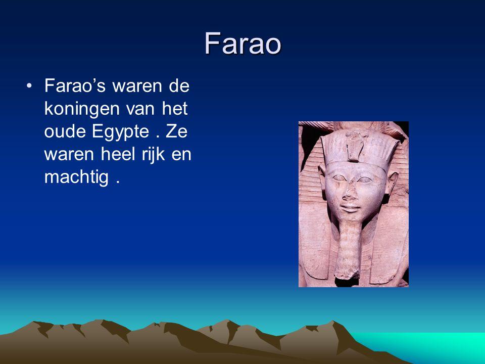 Farao Farao's waren de koningen van het oude Egypte . Ze waren heel rijk en machtig .