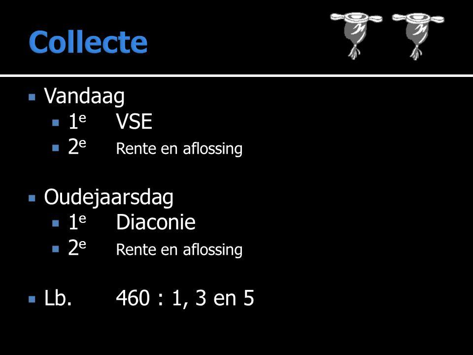 Collecte Vandaag 1e VSE 2e Rente en aflossing Oudejaarsdag 1e Diaconie