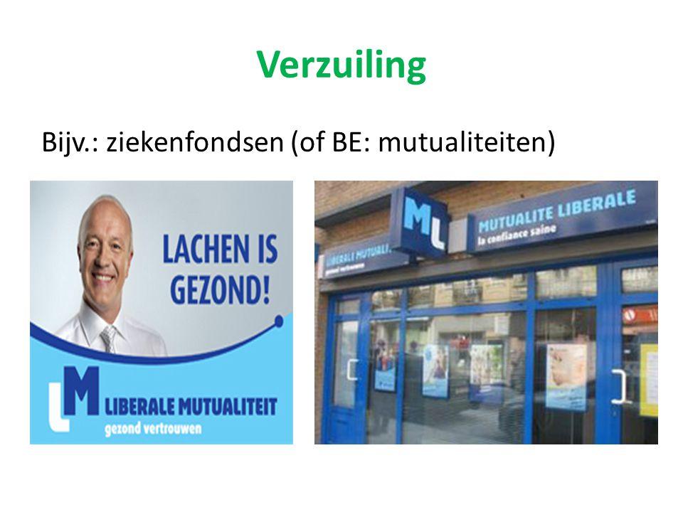 Verzuiling Bijv.: ziekenfondsen (of BE: mutualiteiten)