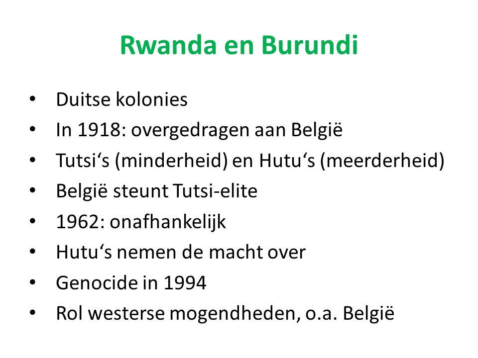 Rwanda en Burundi Duitse kolonies In 1918: overgedragen aan België