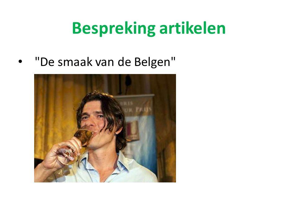Bespreking artikelen De smaak van de Belgen