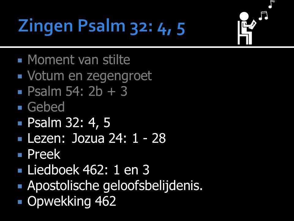 Zingen Psalm 32: 4, 5 Moment van stilte Votum en zegengroet