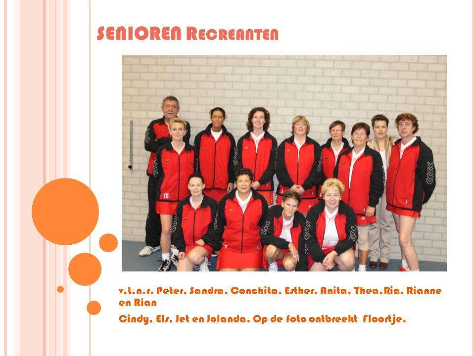 SENIOREN Recreanten v.L.n.r. Peter, Sandra. Conchita, Esther, Anita, Thea,Ria. Rianne en Rian.