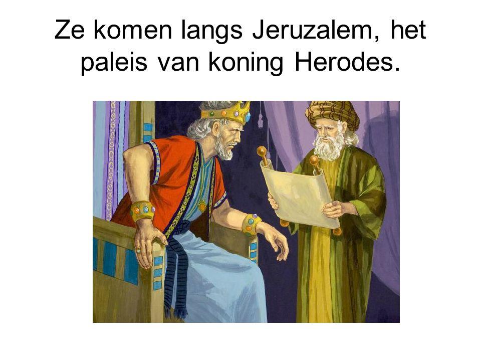 Ze komen langs Jeruzalem, het paleis van koning Herodes.