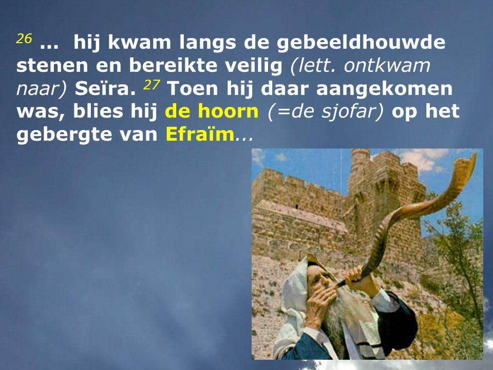 26. hij kwam langs de gebeeldhouwde stenen en bereikte veilig (lett