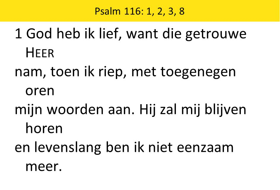 1 God heb ik lief, want die getrouwe Heer