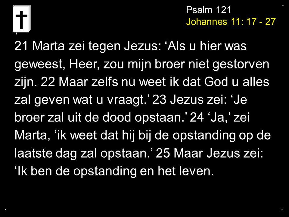 21 Marta zei tegen Jezus: 'Als u hier was