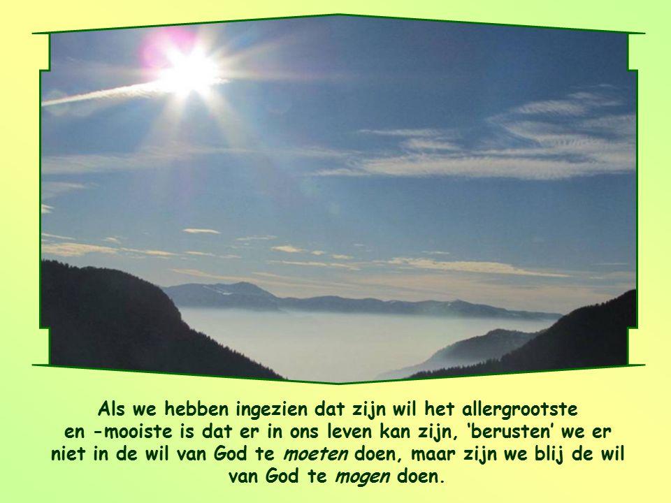 Als we hebben ingezien dat zijn wil het allergrootste en -mooiste is dat er in ons leven kan zijn, 'berusten' we er niet in de wil van God te moeten doen, maar zijn we blij de wil van God te mogen doen.