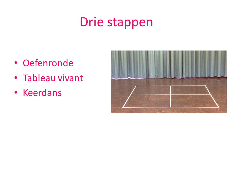Drie stappen Oefenronde Tableau vivant Keerdans