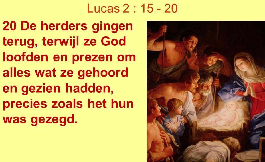 20 De herders gingen terug, terwijl ze God loofden en prezen om