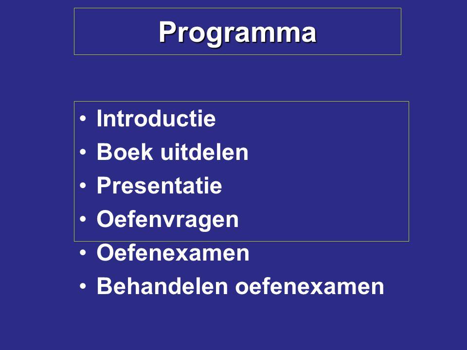 Programma Introductie Boek uitdelen Presentatie Oefenvragen