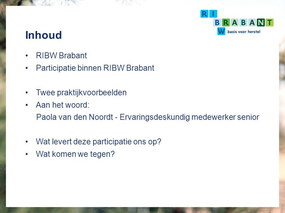 Inhoud RIBW Brabant Participatie binnen RIBW Brabant