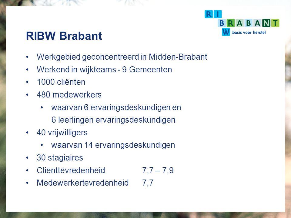 RIBW Brabant Werkgebied geconcentreerd in Midden-Brabant