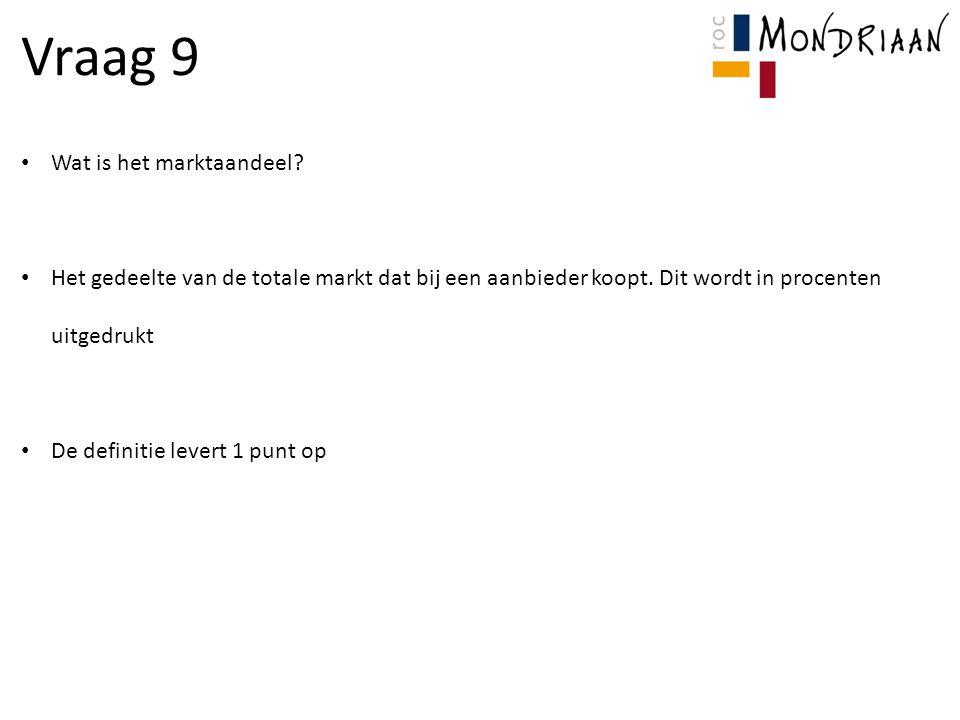 Vraag 9 Wat is het marktaandeel