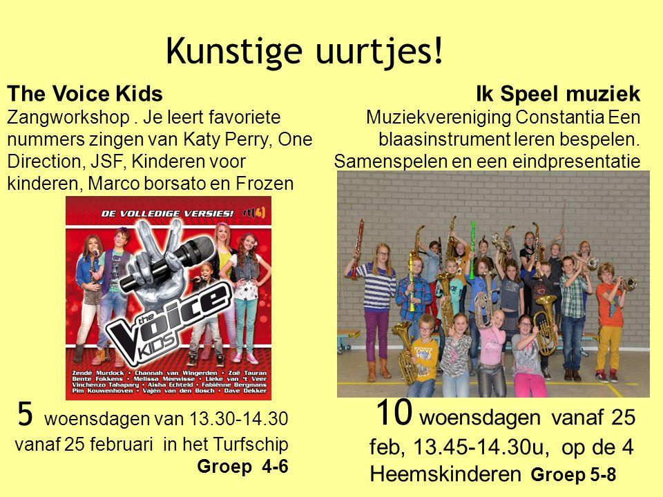 Kunstige uurtjes! 5 woensdagen van 13.30-14.30 The Voice Kids