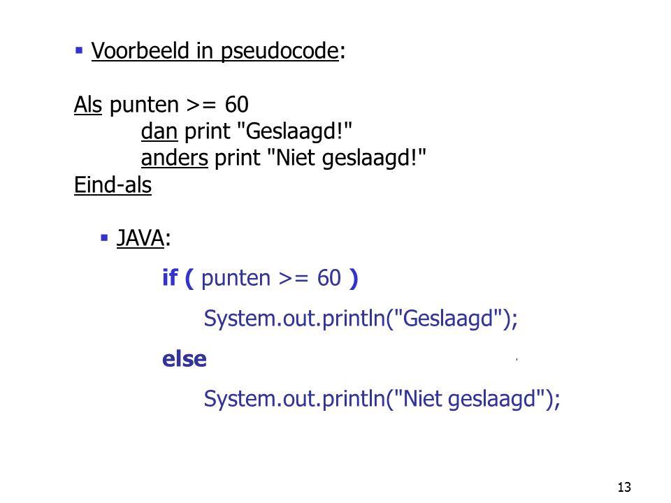 Voorbeeld in pseudocode: