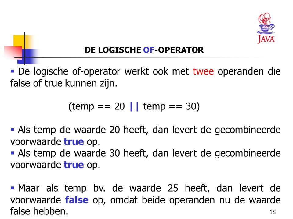 DE LOGISCHE OF-OPERATOR