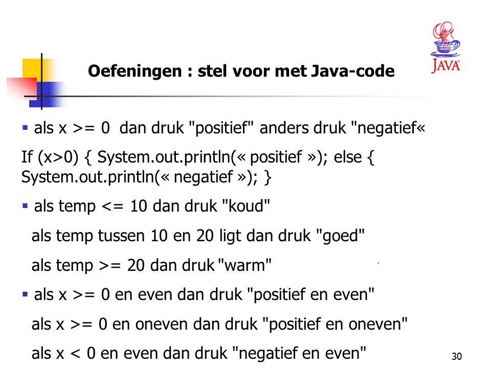 Oefeningen : stel voor met Java-code
