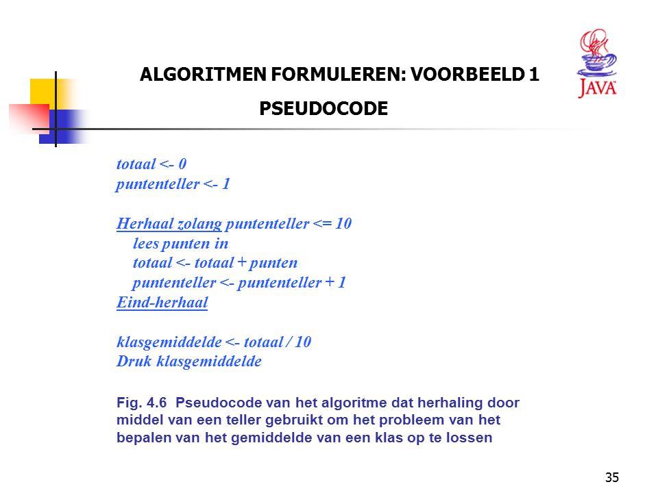 ALGORITMEN FORMULEREN: VOORBEELD 1