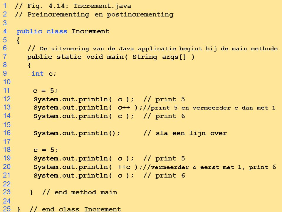 1 // Fig. 4.14: Increment.java 2 // Preincrementing en postincrementing. 3. public class Increment.