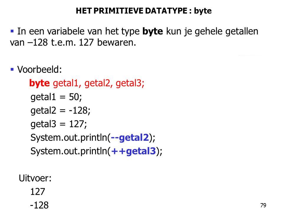 HET PRIMITIEVE DATATYPE : byte