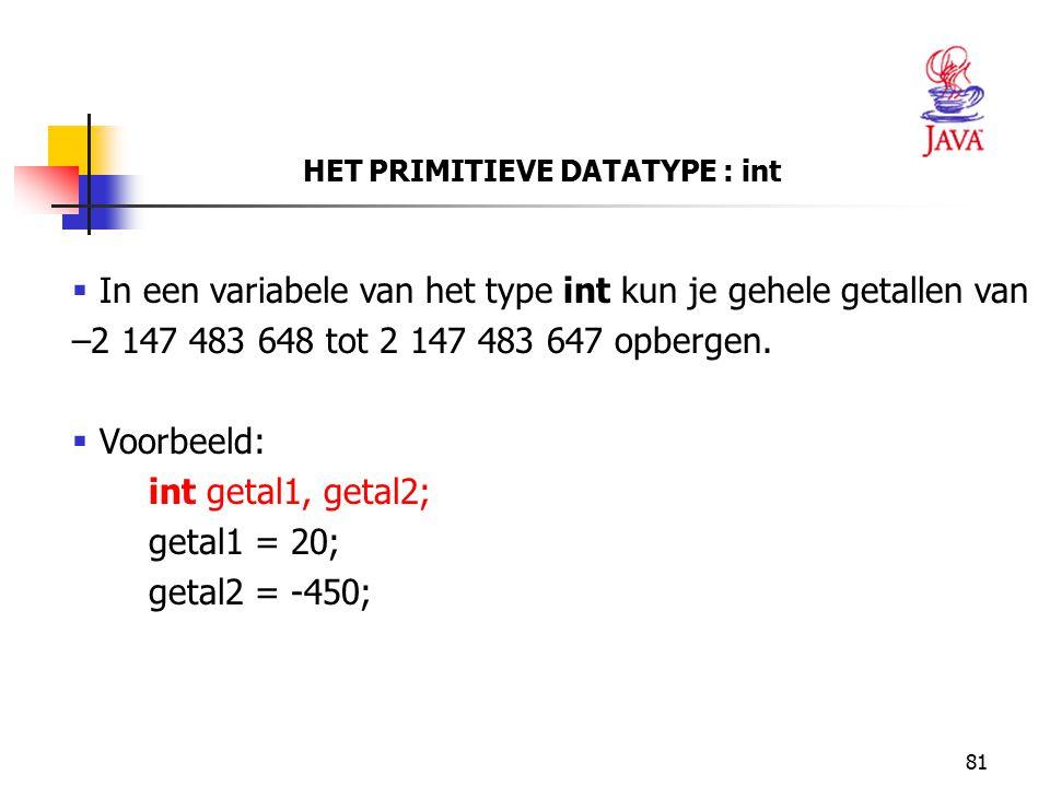 HET PRIMITIEVE DATATYPE : int