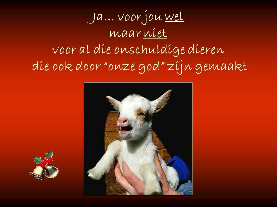 Ja… voor jou wel maar niet voor al die onschuldige dieren die ook door onze god zijn gemaakt