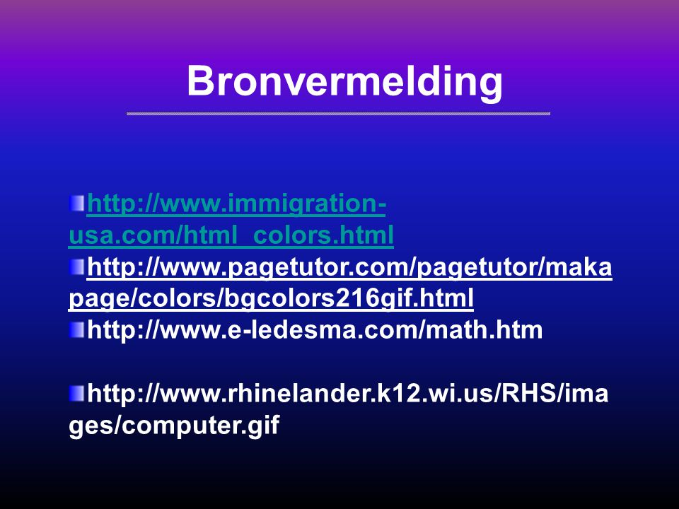Bronvermelding http://www.immigration-usa.com/html_colors.html