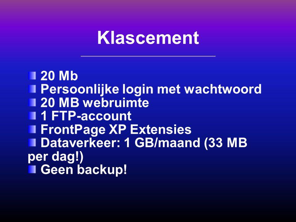 Klascement 20 Mb Persoonlijke login met wachtwoord 20 MB webruimte