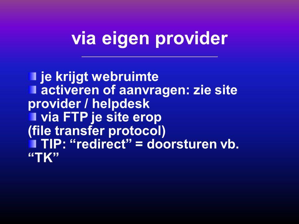 via eigen provider je krijgt webruimte