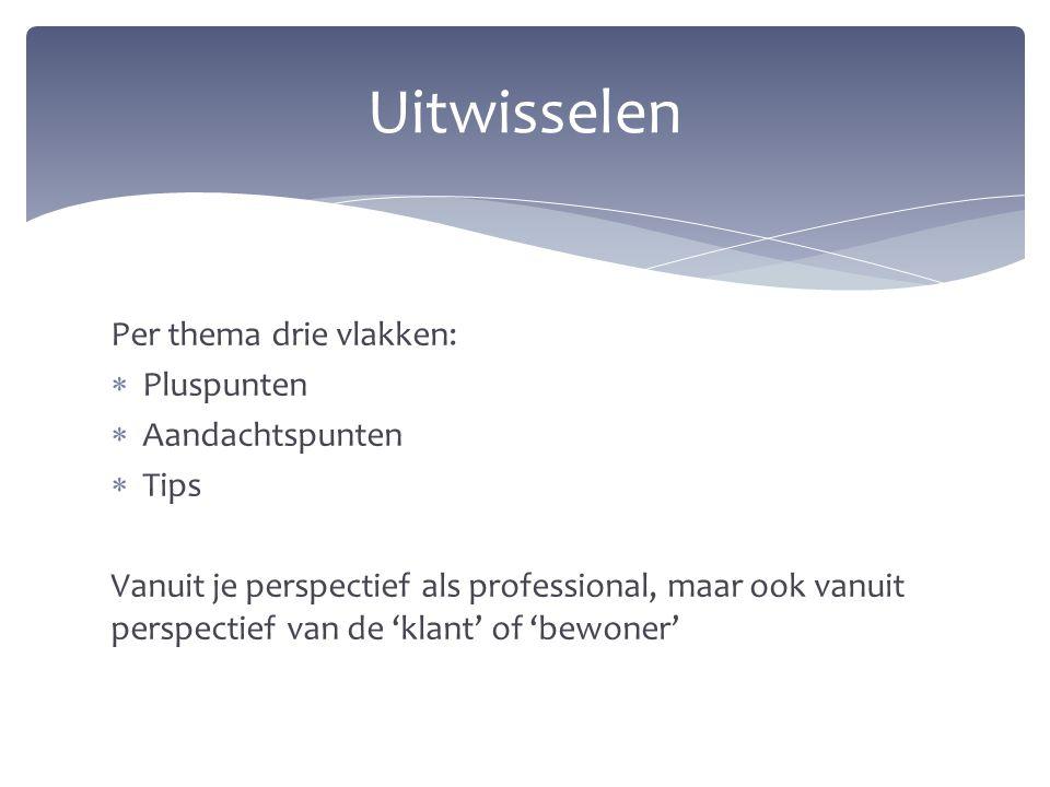 Uitwisselen Per thema drie vlakken: Pluspunten Aandachtspunten Tips
