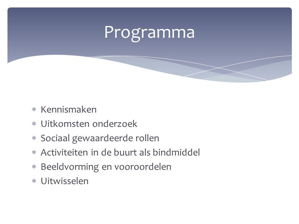 Programma Kennismaken Uitkomsten onderzoek Sociaal gewaardeerde rollen