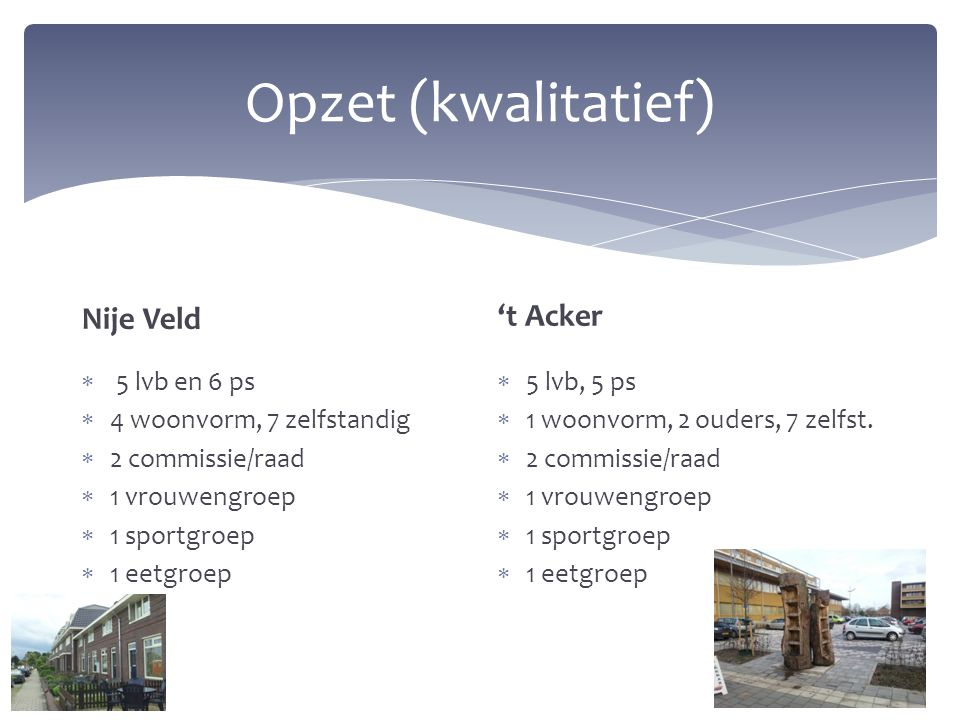 Opzet (kwalitatief) Nije Veld 't Acker 5 lvb en 6 ps