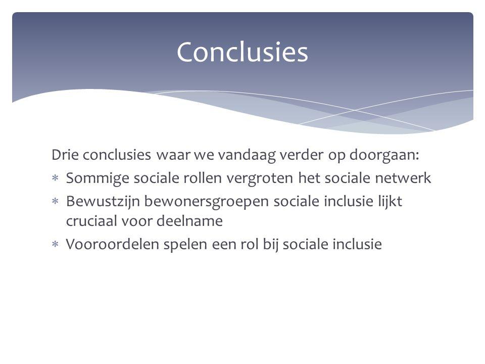 Conclusies Drie conclusies waar we vandaag verder op doorgaan: