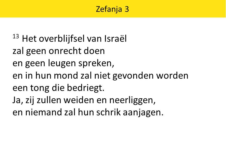 13 Het overblijfsel van Israël zal geen onrecht doen