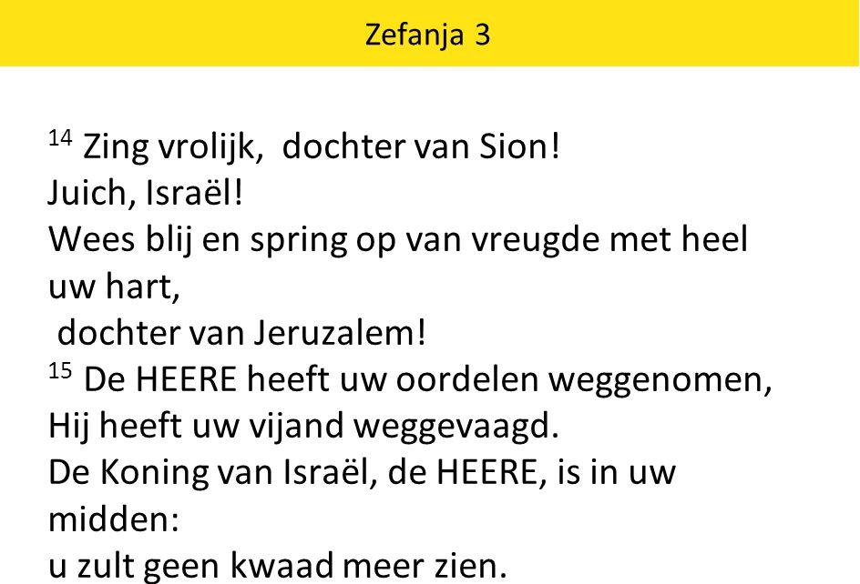 14 Zing vrolijk, dochter van Sion! Juich, Israël!
