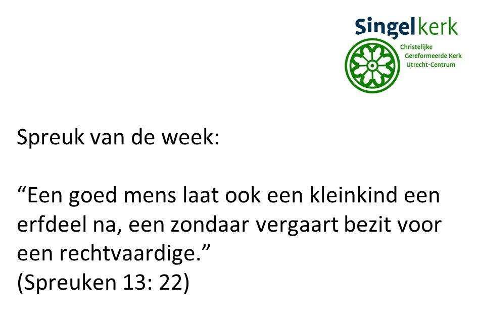 Spreuk van de week: Een goed mens laat ook een kleinkind een erfdeel na, een zondaar vergaart bezit voor een rechtvaardige.