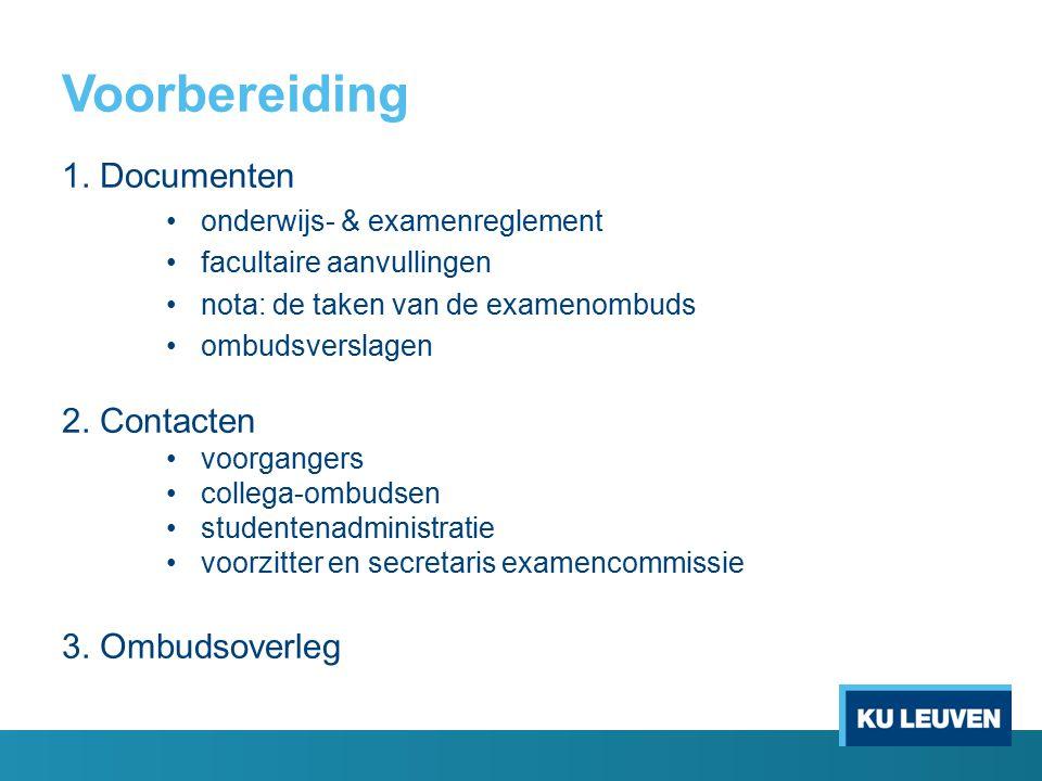 Voorbereiding 1. Documenten 2. Contacten 3. Ombudsoverleg